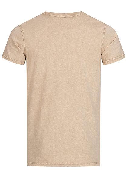 Stitch & Soul Herren Vintage T-Shirt mit Brusttasche sahara sand beige