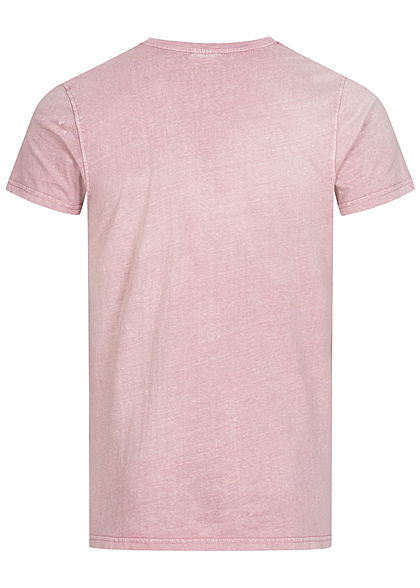 Stitch & Soul Herren Vintage T-Shirt mit Brusttasche dawn rose