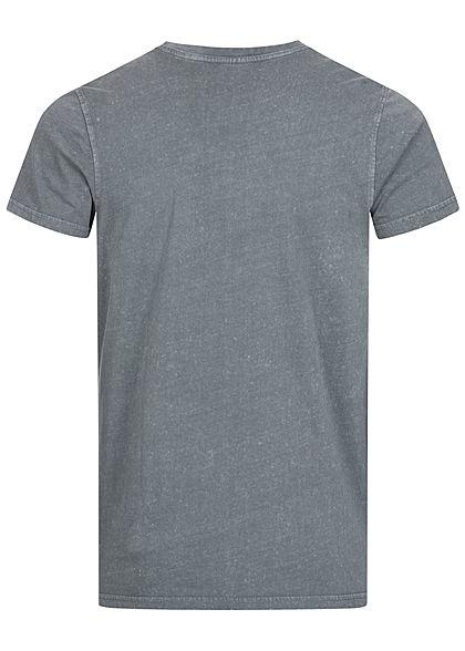 Stitch & Soul Herren Vintage T-Shirt mit Brusttasche ash dunkel grau