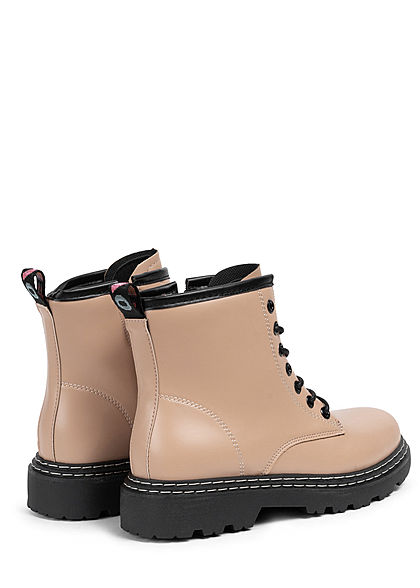 Seventyseven Lifestyle Damen Schuh Kunstleder Worker Boots unicolor khaki hell braun