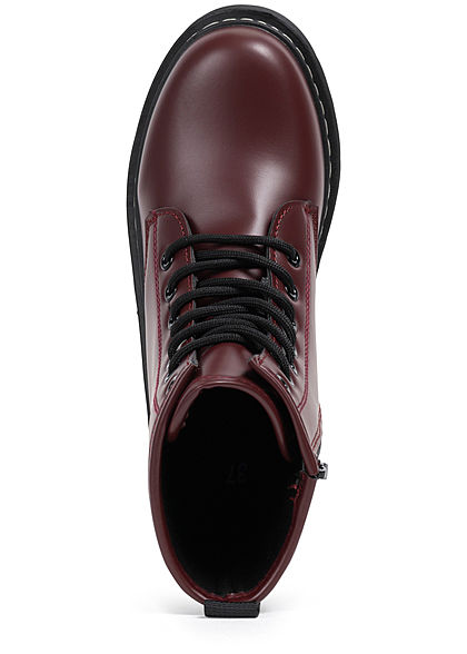 Seventyseven Lifestyle Damen Schuh Kunstleder Worker Boots wine bordeaux dunkel rot