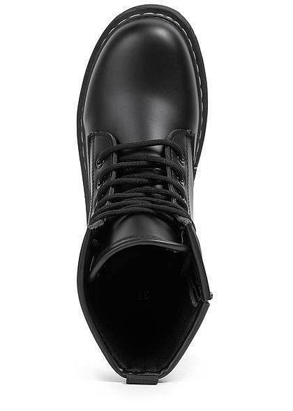 Seventyseven Lifestyle Damen Schuh Kunstleder Worker Boots unicolor schwarz