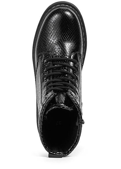 Seventyseven Lifestyle Damen Schuh Kunstleder Worker Boots Schlangenhautoptik schwarz