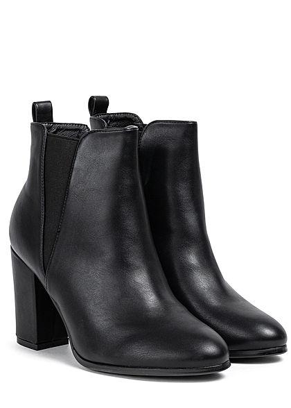 Seventyseven Lifestyle Damen Schuh Kunstleder Stiefelette Absatz 9cm schwarz