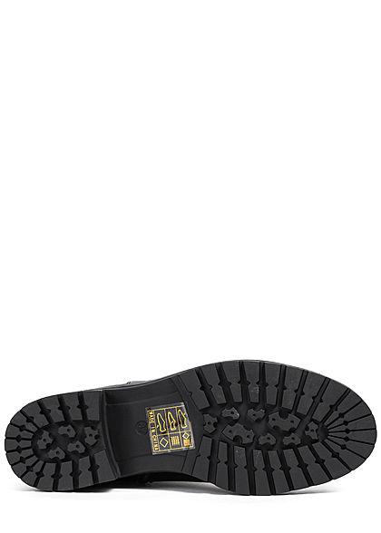 Seventyseven Lifestyle Damen Schuh Kunstleder Halbstiefel mit Zipper Absatz 4cm schwarz