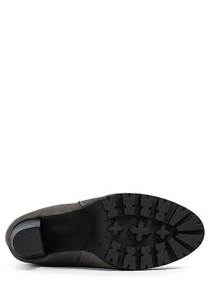 Seventyseven Lifestyle Damen Schuh Kunstleder Stiefelette Absatz 8cm medium grau