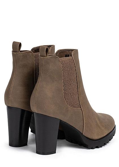 Seventyseven Lifestyle Damen Schuh Kunstleder Stiefelette Absatz 8cm khaki braun
