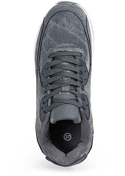 Seventyseven Lifestyle Damen Schuh Sneaker zum schnüren Jeans Look blau grau