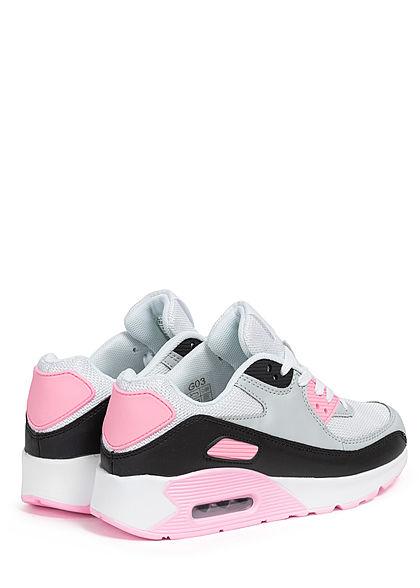 Seventyseven Lifestyle Damen Schuh Sneaker zum schnüren Coloblock weiss grau pink