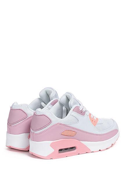 Seventyseven Lifestyle Damen Schuh Sneaker zum schnüren Coloblock weiss rosa apricot