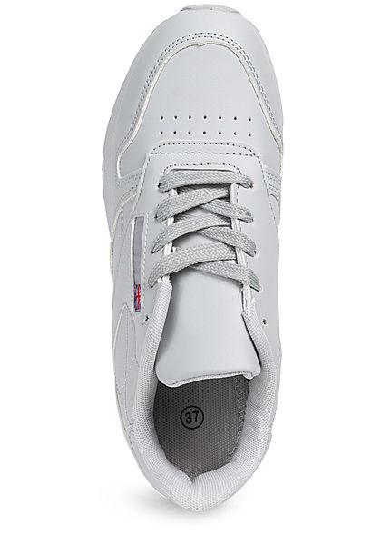 Seventyseven Lifestyle Damen Schuh Kunstleder Sneaker English Flag hell grau