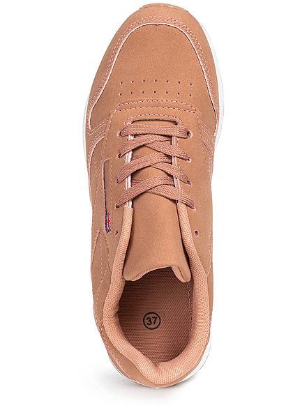 Seventyseven Lifestyle Damen Schuh Kunstleder Sneaker English Flag rosa pink