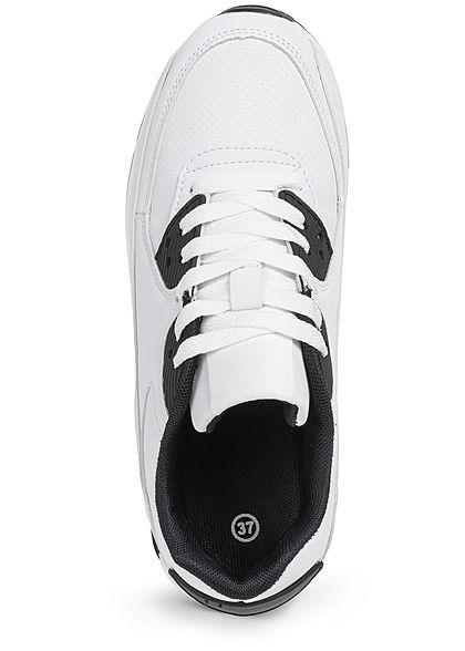 Seventyseven Lifestyle Damen Schuh Kunstleder Sneaker 2-Tone weiss schwarz