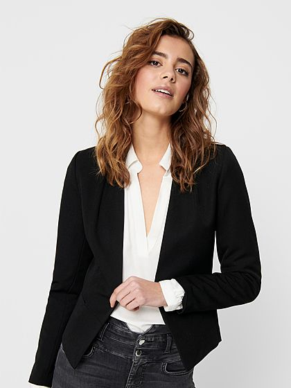 ONLY Damen kurzer V-Neck Blazer offener Schnitt ohne Taschen schwarz