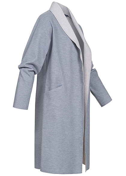 ONLY Damen Longform Coatigan offener Blazer 2-Pockets drappierter Ausschnitt indigo