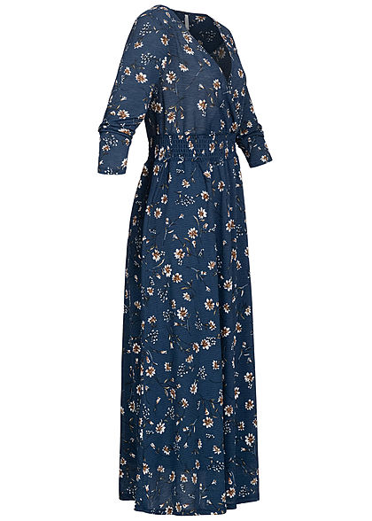 ONLY Damen 3/4 Arm V-Neck Maxikleid Blumen Muster 2-lagig insignia blau
