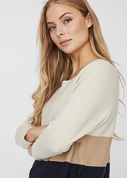 Vero Moda Damen NOOS 3/4 Arm Colorblock Pullover Sweater aus Viskose birch beige