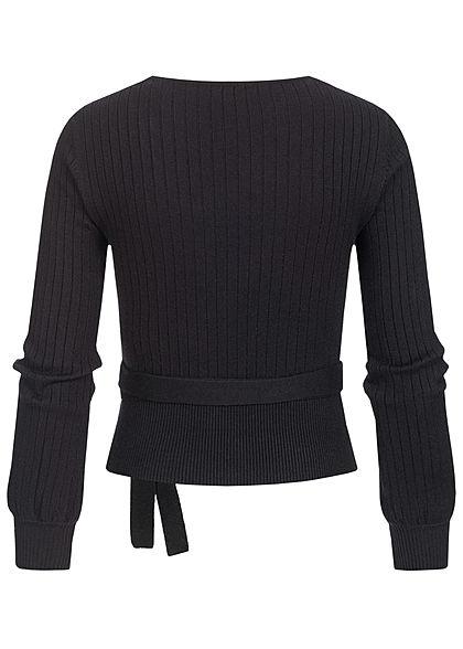 Hailys Damen kurzer V-Neck Struktur Pullover Wickeloptik Schnürdetail hinten schwarz
