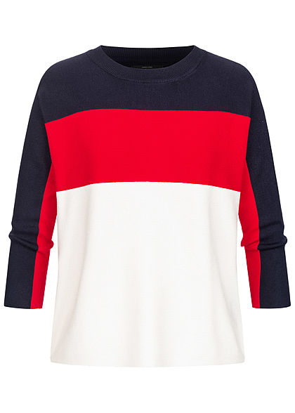 ONLY Damen NOOS 3/4 Arm Colorblock Pullover Ribbed Sweater navy blau rot weiss