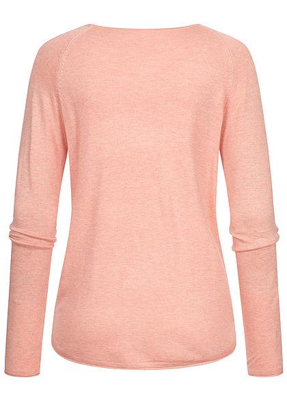 Hailys Damen Vokuhila Pullover leichter Sweater Rollsaumkante rosa melange