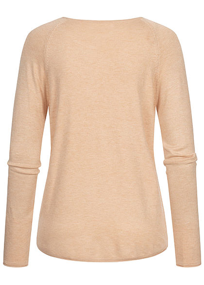 Hailys Damen Vokuhila Pullover leichter Sweater Rollsaumkante beige melange