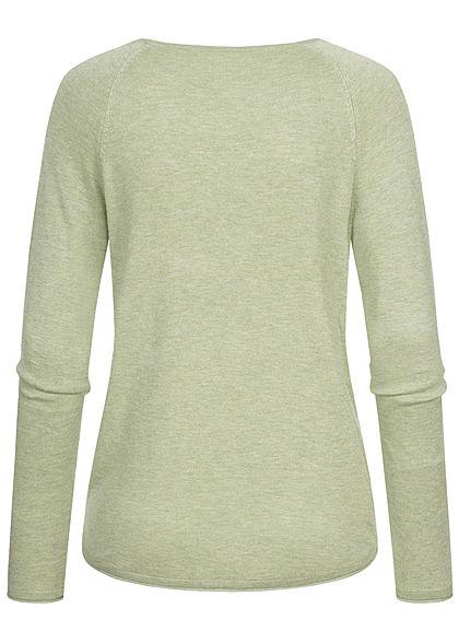 Hailys Damen Vokuhila Pullover leichter Sweater Rollsaumkante soft grün melange