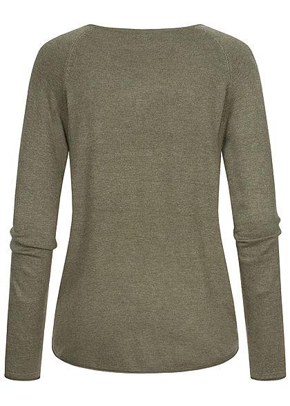 Hailys Damen Vokuhila Pullover leichter Sweater Rollsaumkante khaki melange