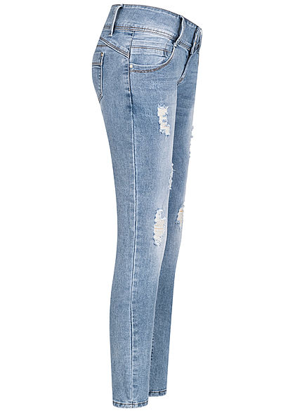 Hailys Damen Skinny Jeans Hose 5-Pockets Low Waist Crash Optik hell blau denim