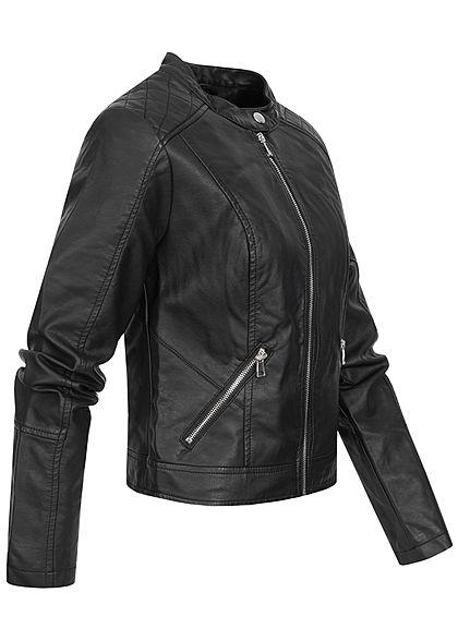 TALLY WEiJL Damen Kunstleder Jacke 2-Pockets mit Druckknopf am Kragen schwarz