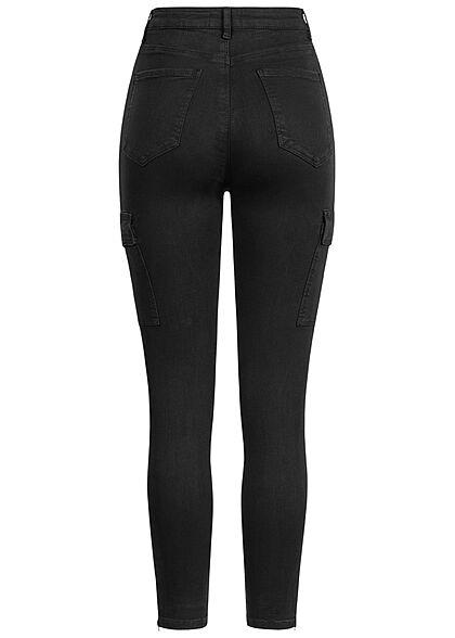 TALLY WEiJL Damen Skinny Cargo Jeans Hose mit seitl. Kette 6-Pockets schwarz denim