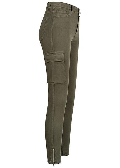 TALLY WEiJL Damen Skinny Cargo Jeans Hose mit seitl. Kette 6-Pockets khaki grün denim