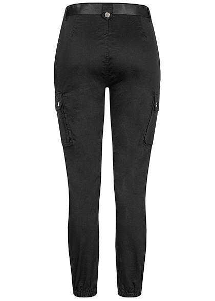 TALLY WEiJL Damen Ankle Cargo High-Waist Satin Hose mit Gürtel 6-Pockets  schwarz