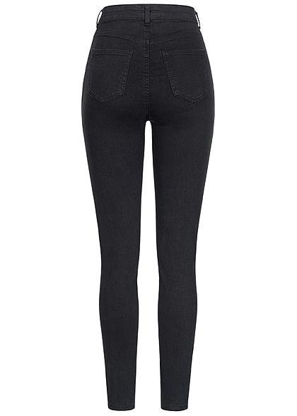 TALLY WEiJL Damen High-Waist Skinny Jeans Hose 2-Pockets 2 Deko Taschen vorne schwarz