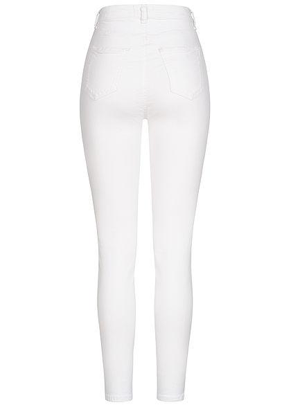 TALLY WEiJL Damen High-Waist Skinny Jeans Hose 2-Pockets 2 Deko Taschen vorne weiss