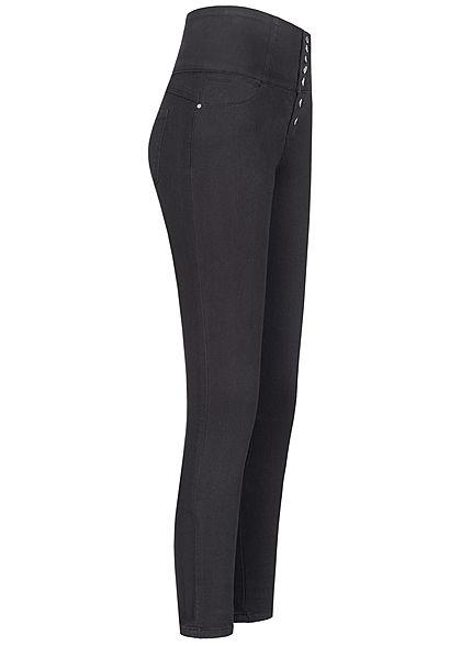 TALLY WEiJL Damen Super High- Waist Skinny Jeans Hose mit Knopfleiste schwarz denim