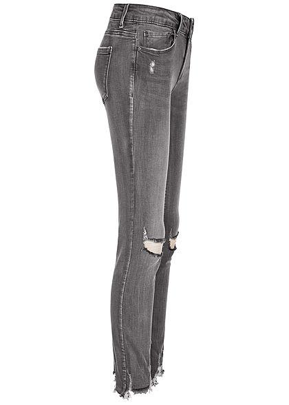 TALLY WEiJL Damen Skinny Jeans Hose Low Waist Destroy Look Fransen am Bein washed grau d.