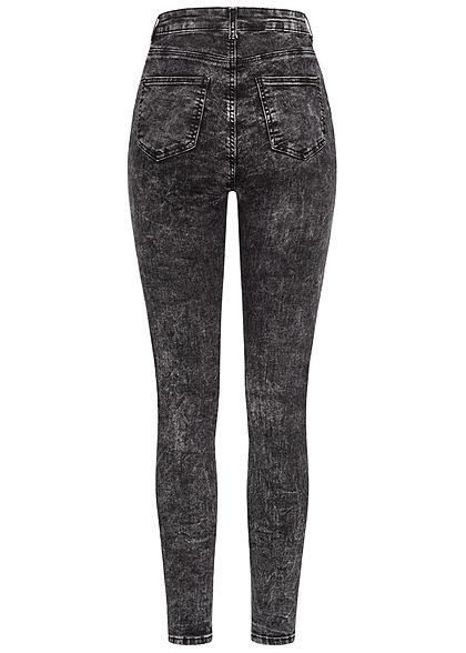 TALLY WEiJL Damen Ankle Skinny High-Waist Jeans Hose 2 Deko Taschen vorne acid schwarz
