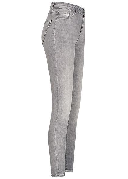 TALLY WEiJL Damen Ankle Skinny High-Waist Jeans Hose 2 Deko Taschen vorne grau denim