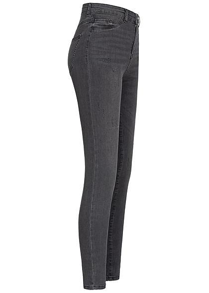 TALLY WEiJL Damen Ankle Skinny High-Waist Jeans Hose 2 Deko Taschen vorne used schwarz den
