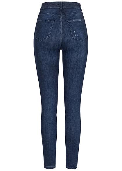 TALLY WEiJL Damen High-Waist Skinny Jeans Hose Destroy Look 2 Deko Taschen rinse indigo