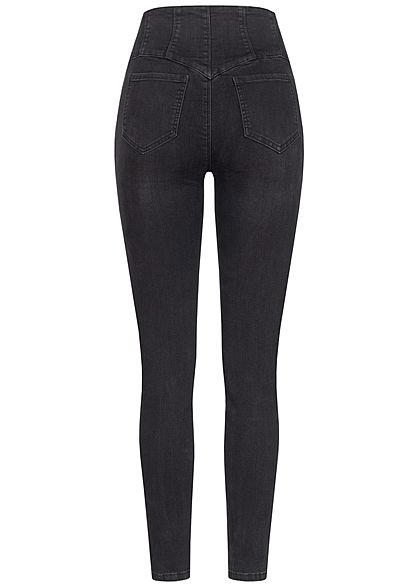 TALLY WEiJL Damen High-Waist Skinny Jeans Hose mit Korsett Effekt Knopfleiste schwarz den