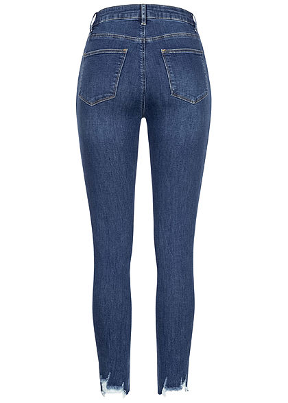 TALLY WEiJL Damen High-Waist Skinny Jeans Hose Destroy Look Fransen am Beinende d. blau