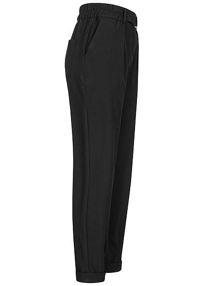 TALLY WEiJL Damen 3/4 Slouchy Stoffhose mit Gürtel 4-Pockets High-Waist schwarz