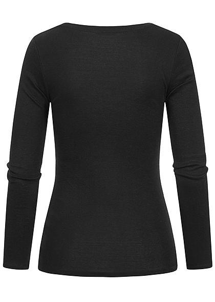 TALLY WEiJL Damen Basic V-Neck Longsleeve leichter Pullover schwarz
