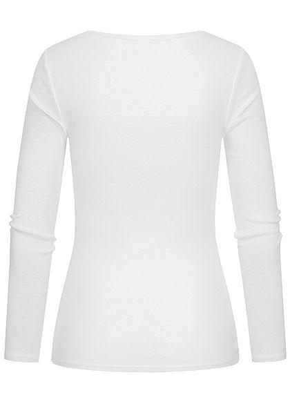TALLY WEiJL Damen Basic V-Neck Longsleeve leichter Pullover weiss