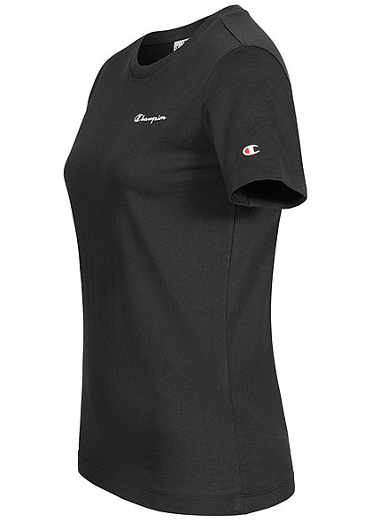 Champion Damen Basic Logo T-Shirt schwarz weiss