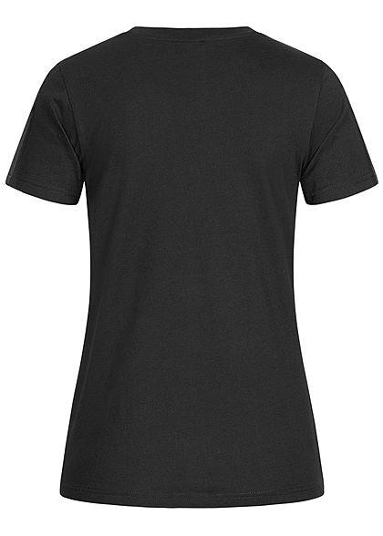 Champion Damen Basic T-Shirt Logo-Band Aufnäher an den Schultern schwarz
