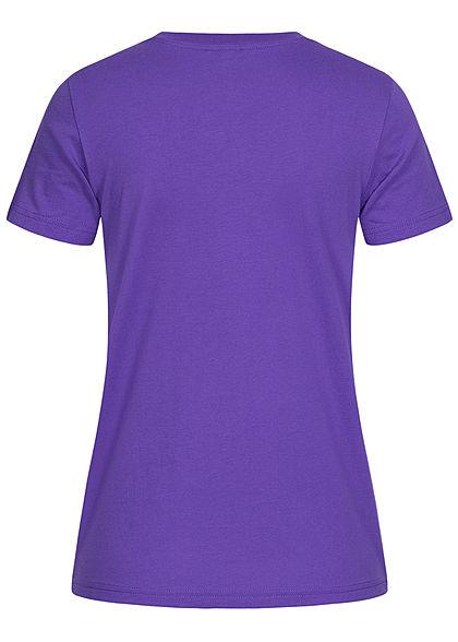 Champion Damen Basic T-Shirt Logo-Band Aufnäher an den Schultern lila