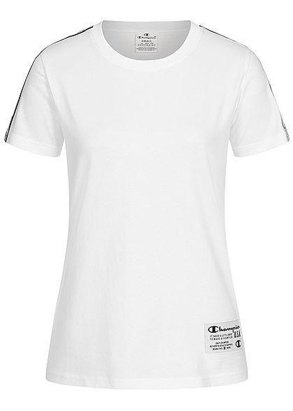 Champion Damen Basic T-Shirt Logo-Band Aufnäher an den Schultern weiss