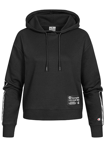 Champion Damen kurzer Hoodie Logo-Band Patch Kapuze Tunnelzug schwarz - Art.-Nr.: 21020500